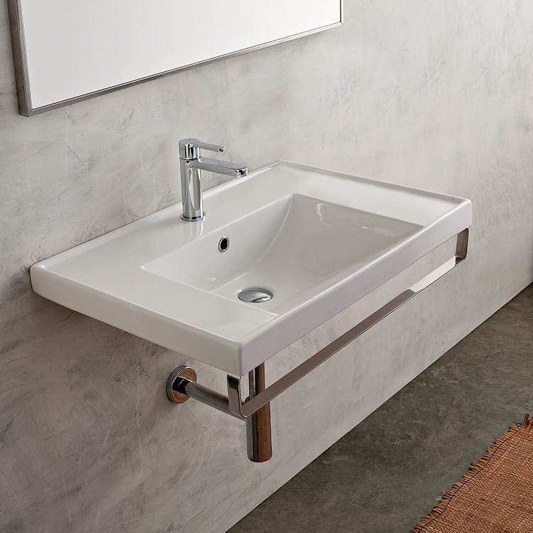 Bathroom Sink, Scarabeo 3005-TB-One Hole, Rectangular Wall Mounted Ceramic Sink With Polished Chrome Towel Bar