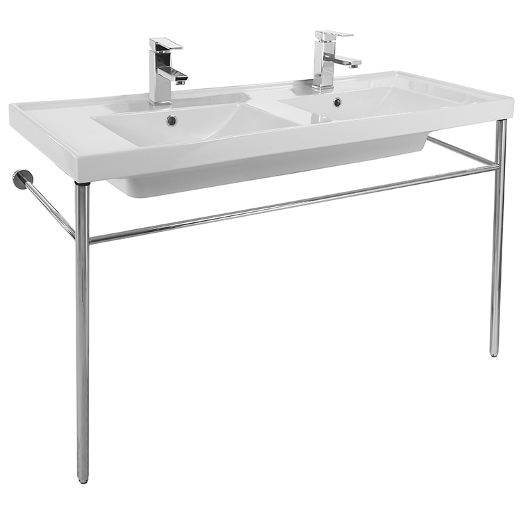 Bathroom Sink, Scarabeo 3006-CON, Double Basin Ceramic Console Sink and Polished Chrome Stand