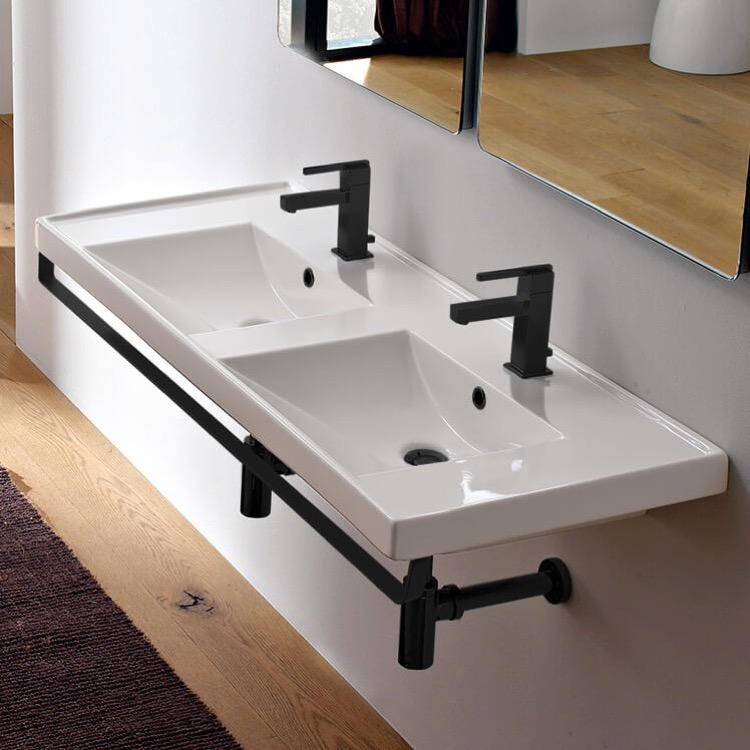Bathroom Sink, Scarabeo 3006-TB-BLK-No Hole, Double Basin Wall Mounted Ceramic Sink With Matte Black Towel Bar
