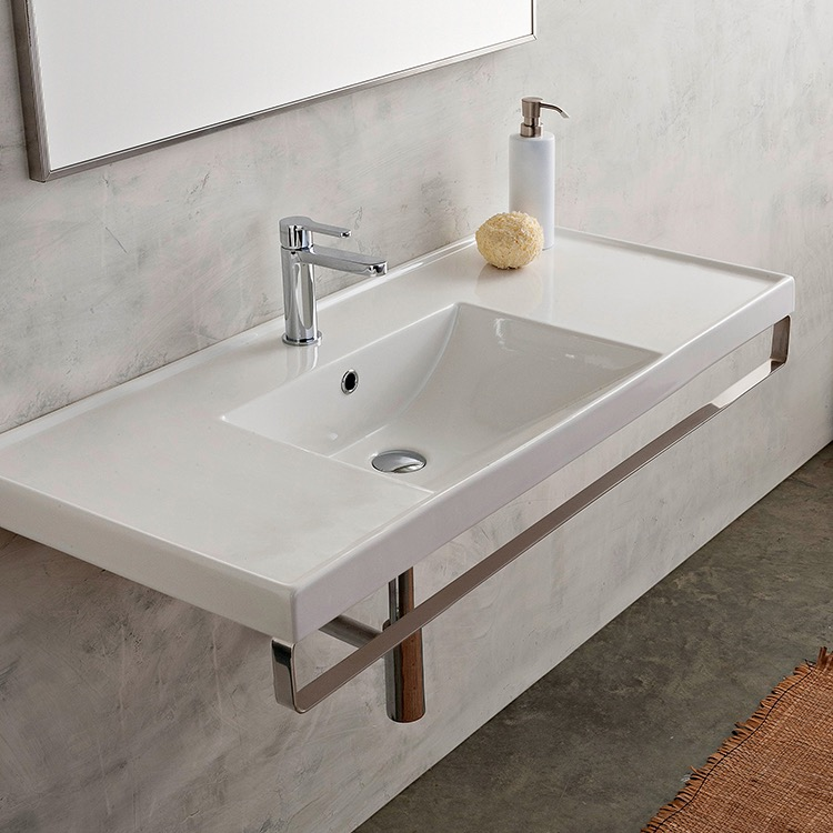 Bathroom Sink, Scarabeo 3007-TB-One Hole, Rectangular Wall Mounted Ceramic Sink With Polished Chrome Towel Bar
