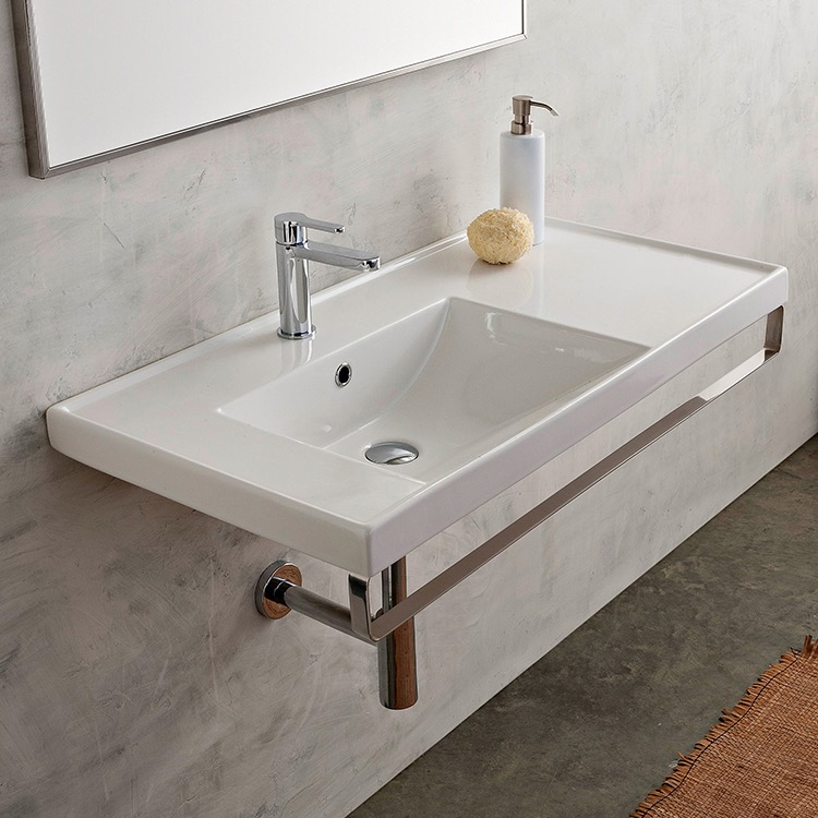 Bathroom Sink, Scarabeo 3008 TB, Rectangular Wall Mounted Ceramic Sink With  Polished Chrome
