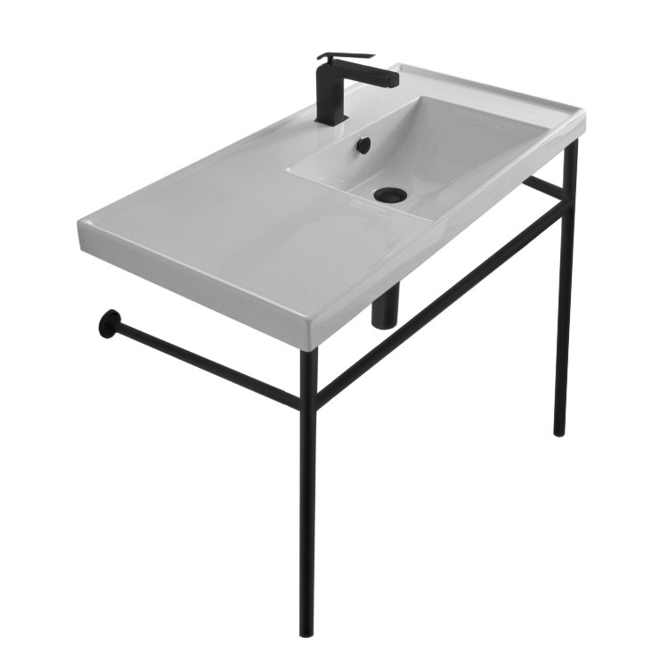 Bathroom Sink, Scarabeo 3009-CON-BLK-No Hole, Rectangular Ceramic Console Sink and Matte Black Stand
