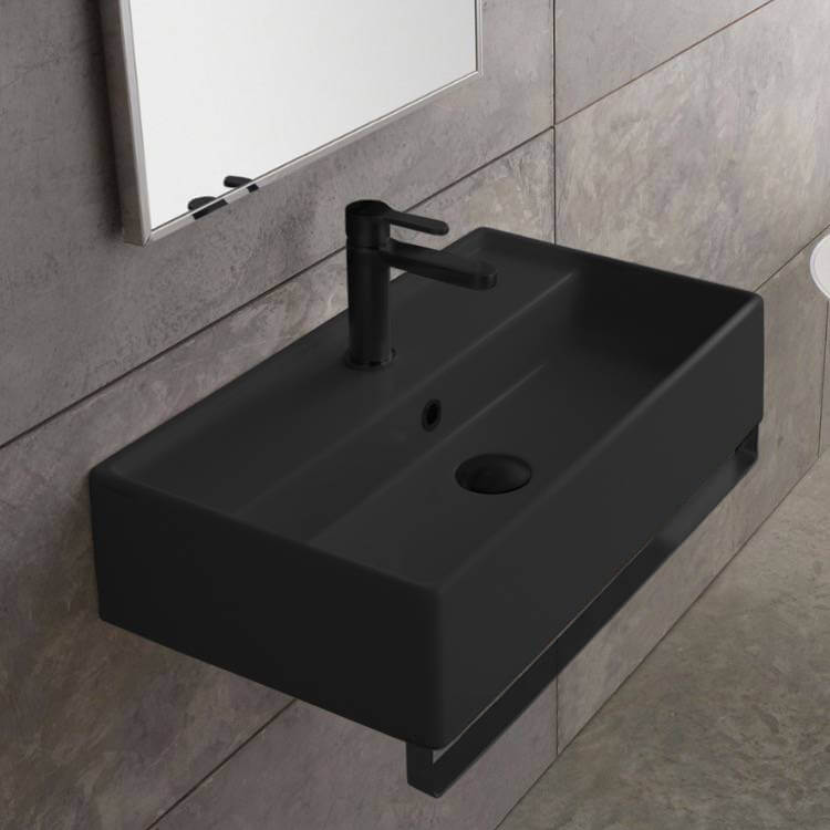 Bathroom Sink, Scarabeo 5001-49-TB-BLK-One Hole, Matte Black Ceramic Wall Mounted Sink With Matte Black Towel Bar