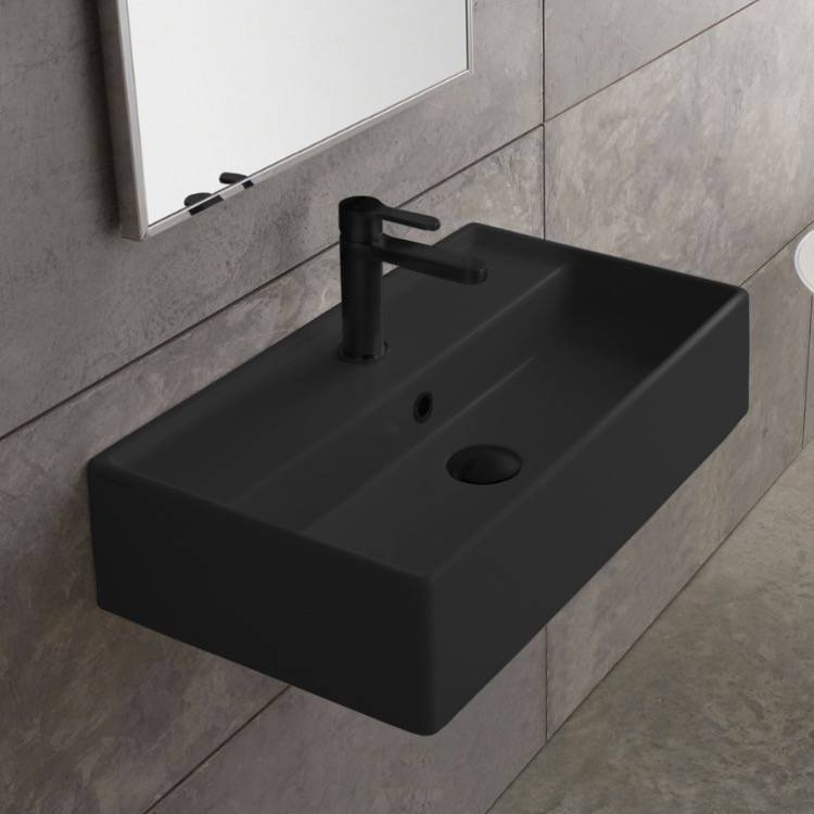 Bathroom Sink, Scarabeo 5002-49-One Hole, Rectangular Matte Black Ceramic Wall Mounted or Vessel Sink