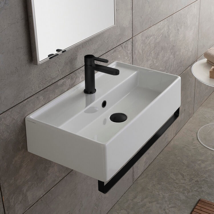 Bathroom Sink, Scarabeo 5003-TB-BLK-One Hole, Rectangular Wall Mounted Ceramic Sink With Matte Black Towel Bar