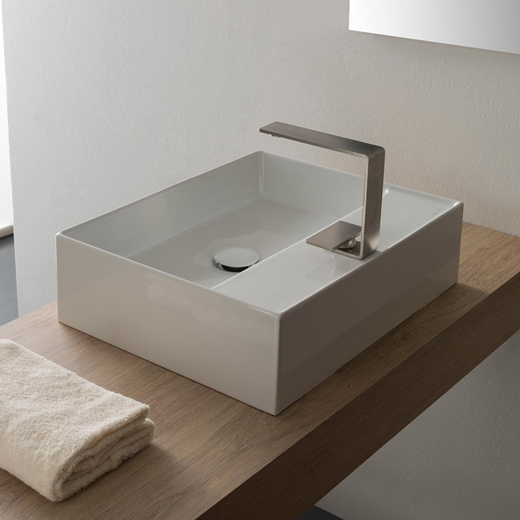 Bathroom Sink, Scarabeo 5112-One Hole, Rectangular White Ceramic Vessel Sink