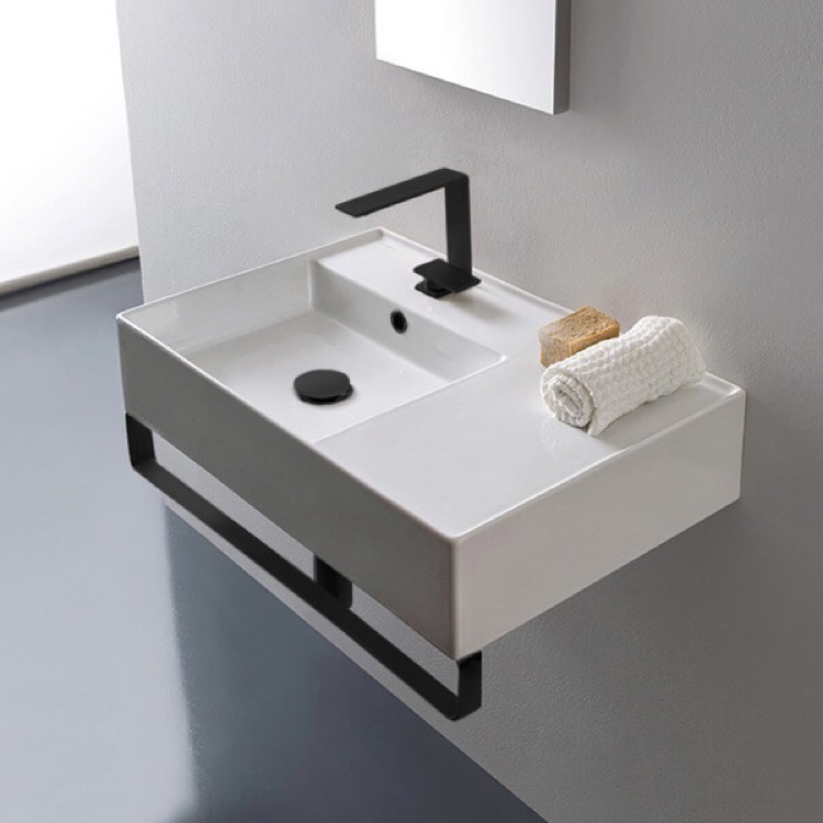 Bathroom Sink, Scarabeo 5114-TB-BLK-One Hole, Rectangular Ceramic Wall Mounted Sink, Matte Black Towel Bar Included