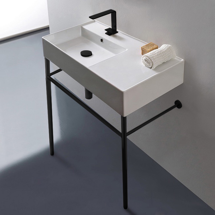 Bathroom Sink, Scarabeo 5115-CON-BLK-One Hole, Ceramic Console Sink and Matte Black Stand
