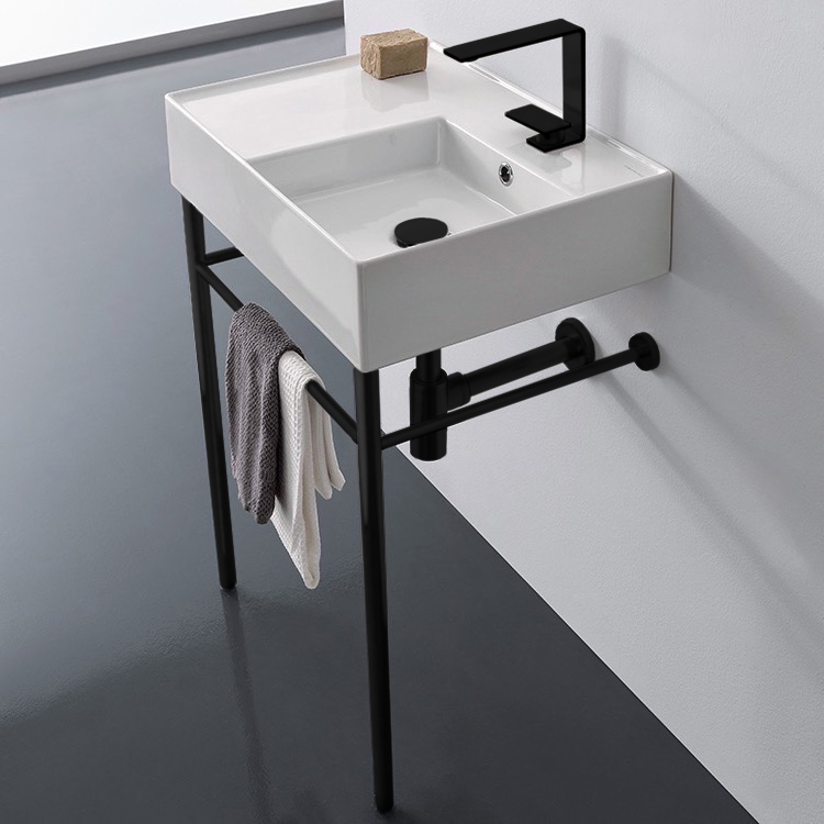 Bathroom Sink, Scarabeo 5117-CON-BLK-One Hole, Ceramic Console Sink and Matte Black Stand
