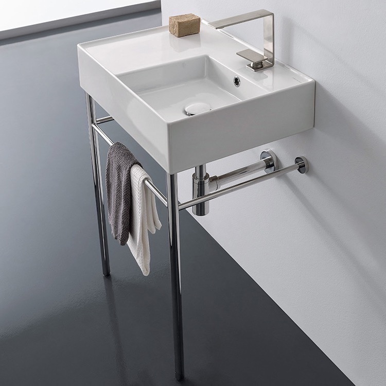 Bathroom Sink, Scarabeo 5117-CON-One Hole, Rectangular Ceramic Console Sink and Polished Chrome Stand