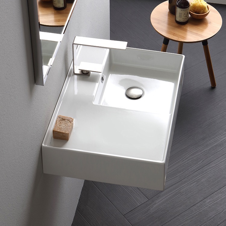 Bathroom Sink, Scarabeo 5117-One Hole, Rectangular Ceramic Wall Mounted or Vessel Sink With Counter Space