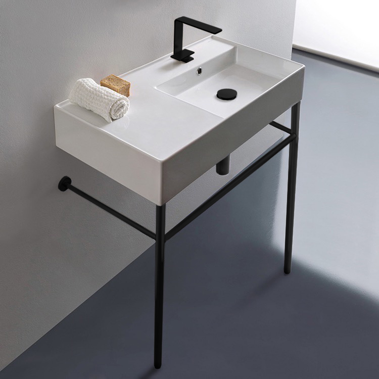 Bathroom Sink, Scarabeo 5118-CON-BLK-One Hole, Ceramic Console Sink and Matte Black Stand