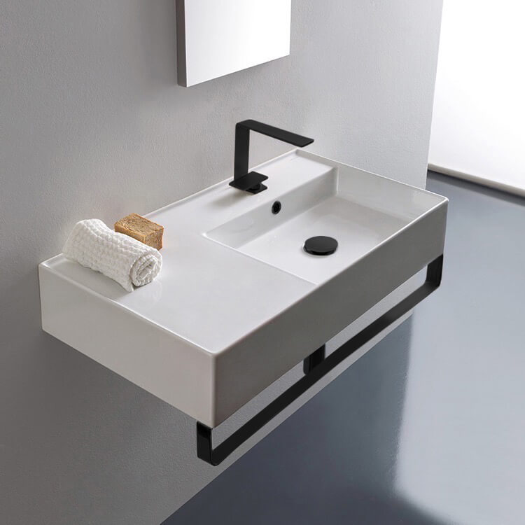 Bathroom Sink, Scarabeo 5118-TB-BLK-One Hole, Rectangular Ceramic Wall Mounted Sink With Matte Black Towel Bar