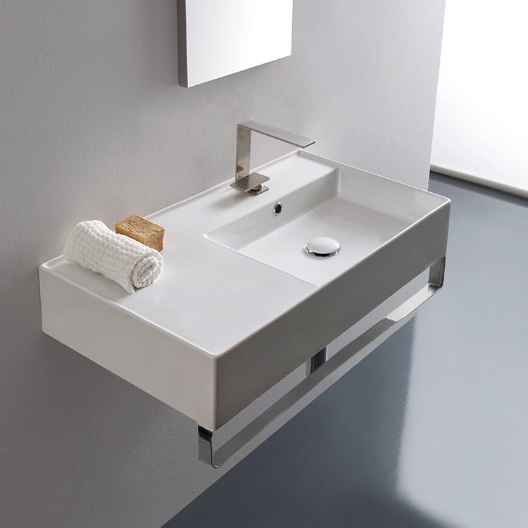 Bathroom Sink, Scarabeo 5118-TB-One Hole, Rectangular Ceramic Wall Mounted Sink With Counter Space, Includes Towel Bar