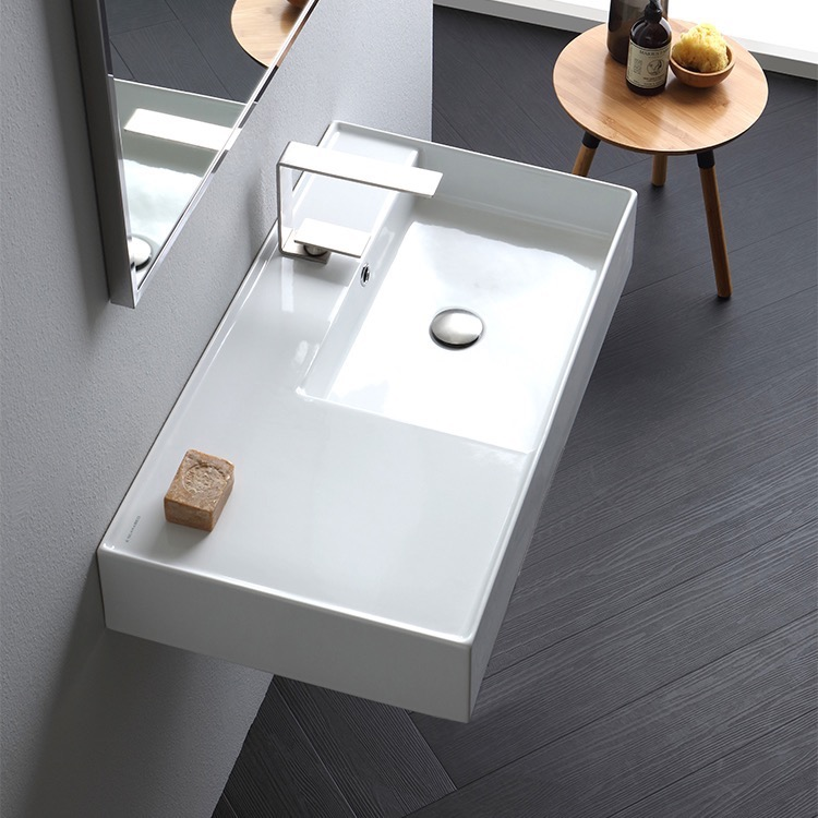 Bathroom Sink, Scarabeo 5118-One Hole, Rectangular Ceramic Wall Mounted or Vessel Sink With Counter Space