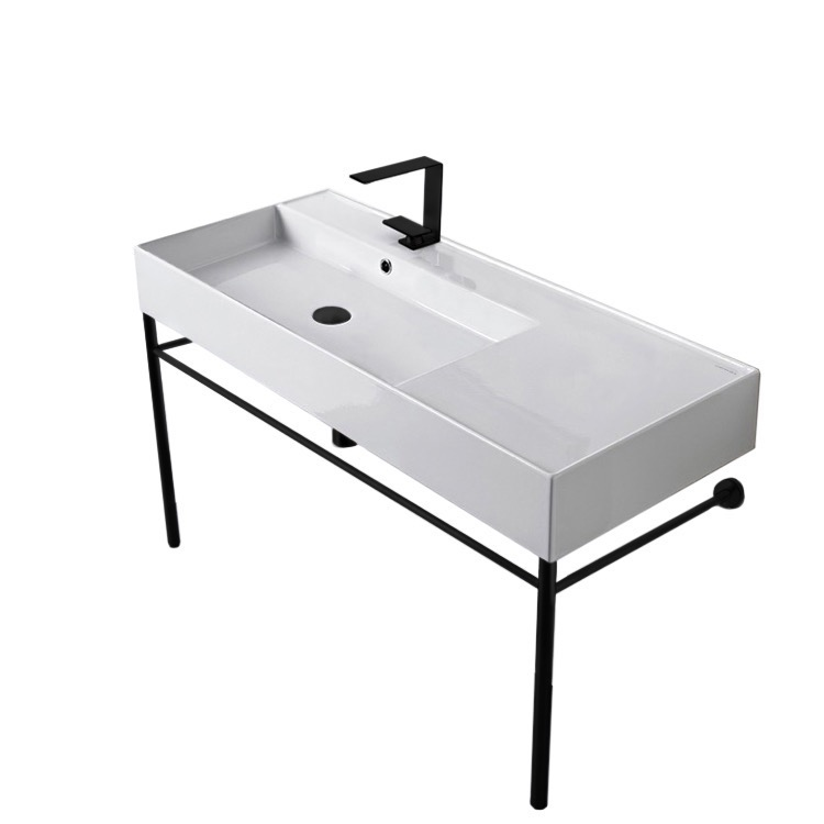 Bathroom Sink, Scarabeo 5119-CON-BLK, Ceramic Console Sink and Matte Black Stand