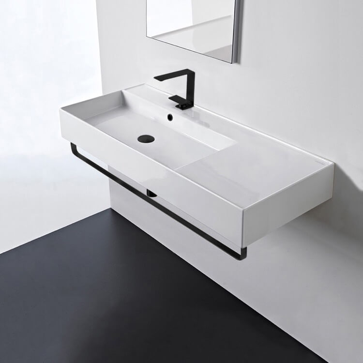 Bathroom Sink, Scarabeo 5119-TB-BLK-One Hole, Rectangular Ceramic Wall Mounted Sink, Matte Black Towel Bar Included
