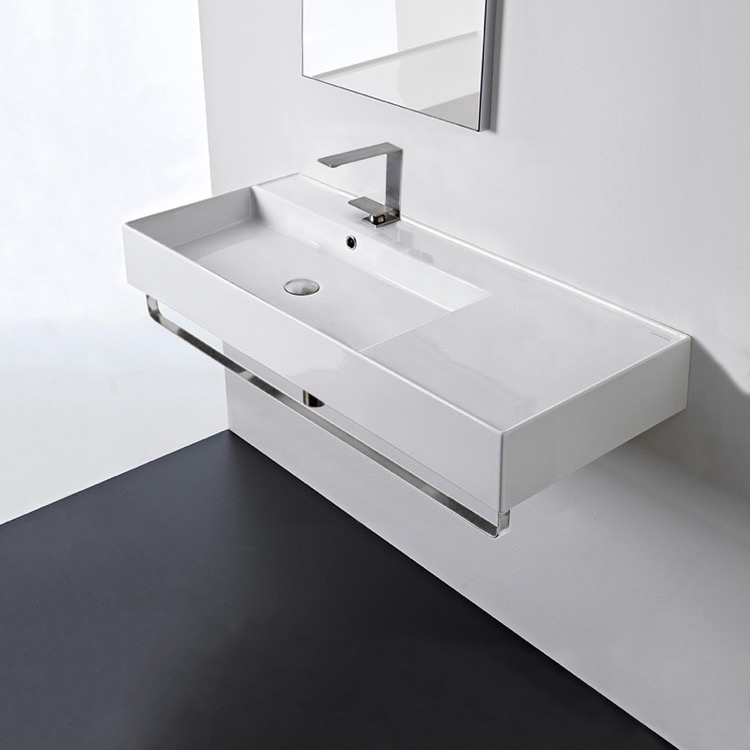 Bathroom Sink, Scarabeo 5119-TB-One Hole, Rectangular Ceramic Wall Mounted Sink With Counter Space, Towel Bar Included