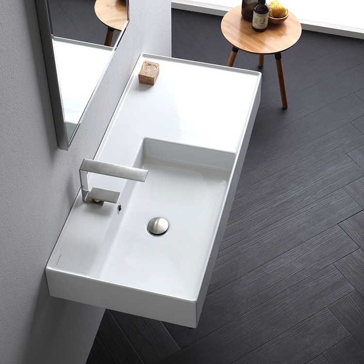 Bathroom Sink, Scarabeo 5119-One Hole, Rectangular Ceramic Wall Mounted or Vessel Sink With Counter Space