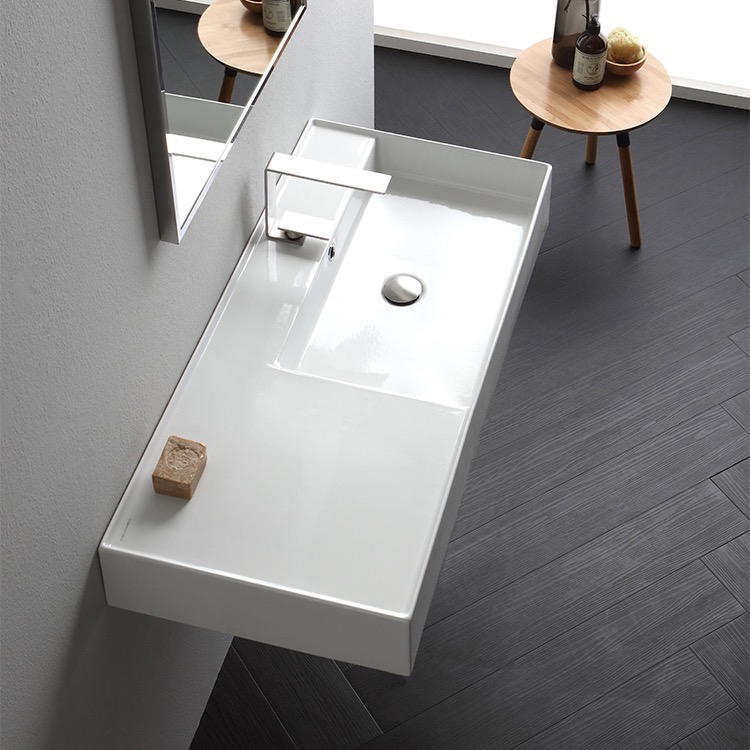 Bathroom Sink, Scarabeo 5120-One Hole, Rectangular Ceramic Wall Mounted or Vessel Sink With Counter Space