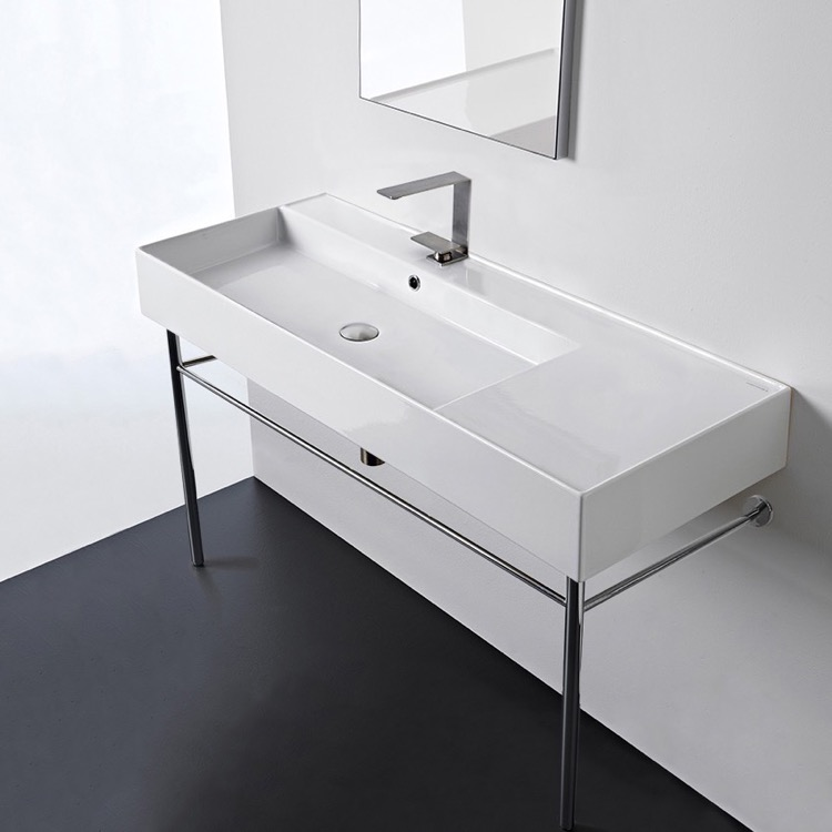Bathroom Sink, Scarabeo 5121-CON-One Hole, Rectangular Ceramic Console Sink and Polished Chrome Stand
