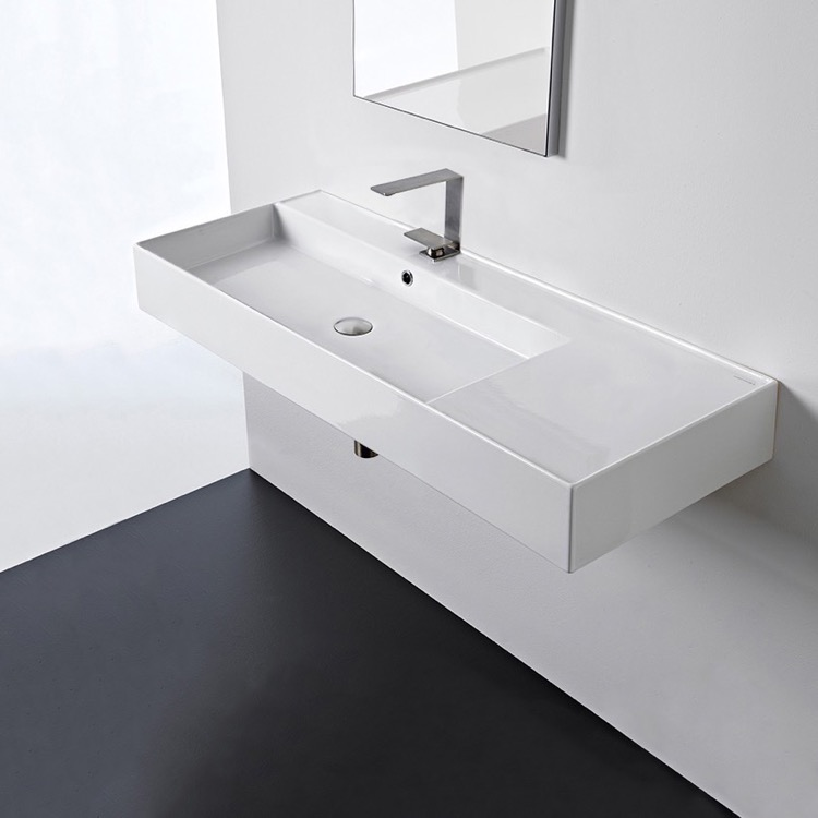 Bathroom Sink, Scarabeo 5121-One Hole, Rectangular Ceramic Wall Mounted or Vessel Sink With Counter Space