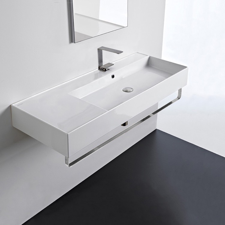 Bathroom Sink, Scarabeo 5122-TB-One Hole, Rectangular Ceramic Wall Mounted Sink With Counter Space, Towel Bar Included