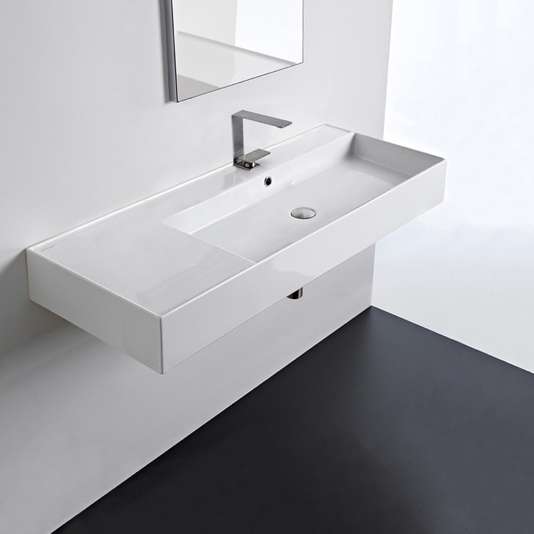 Bathroom Sink, Scarabeo 5122-One Hole, Rectangular Ceramic Wall Mounted or Vessel Sink With Counter Space