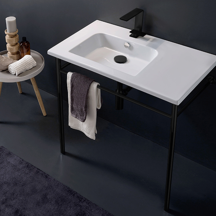 Bathroom Sink, Scarabeo 5211-CON-BLK-One Hole, Ceramic Console Sink and Matte Black Stand