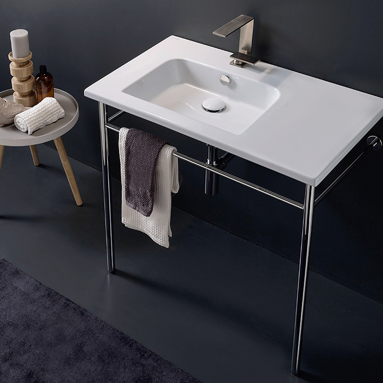 Bathroom Sink, Scarabeo 5211-CON-One Hole, Rectangular Ceramic Console Sink and Polished Chrome Stand