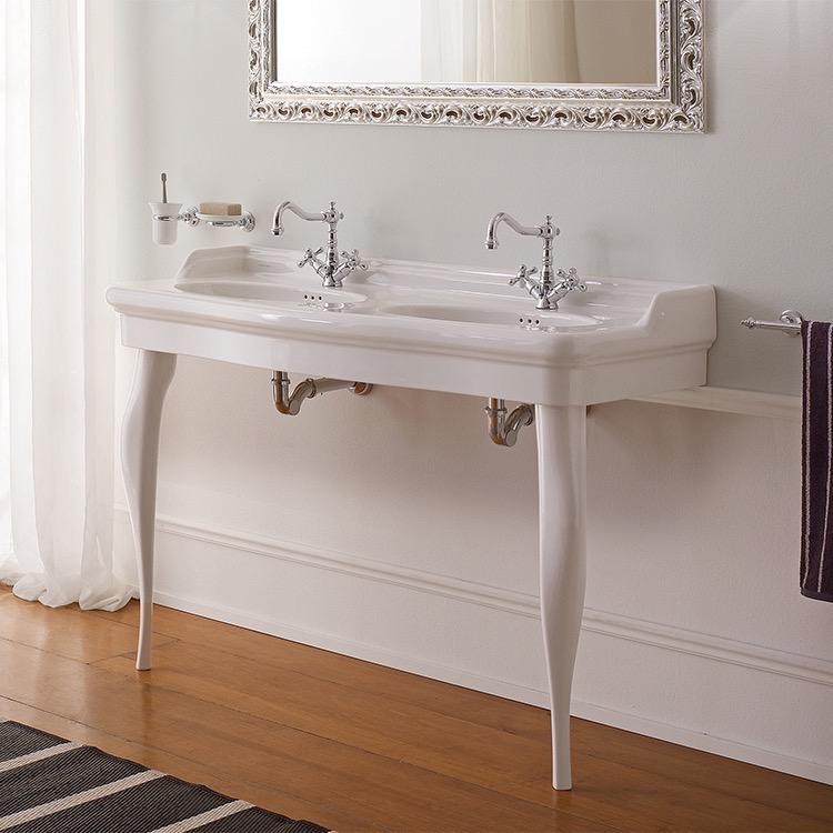 Bathroom Sink, Scarabeo 5303-CON-Two Hole, Double Basin Ceramic Console Sink and Ceramic Legs
