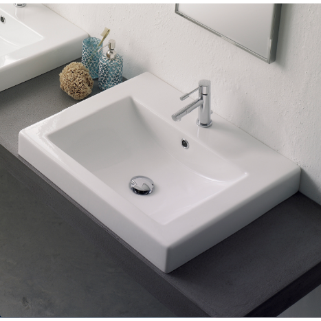 Bathroom Sink, Scarabeo 8007/A-One Hole, Square White Ceramic Drop In Sink