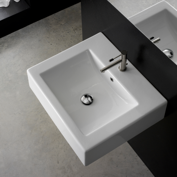 Bathroom Sink, Scarabeo 8007/B-One Hole, Square White Ceramic Wall Mounted or Vessel Sink