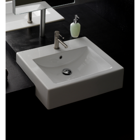 Bathroom Sink, Scarabeo 8007/D-One Hole, 24 Inch Square Ceramic Semi-Recessed Sink