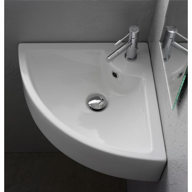 Bathroom Sink, Scarabeo 8007/E-One Hole, Square White Ceramic Wall Mounted or Vessel Corner Sink