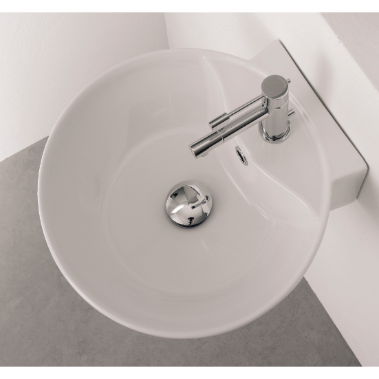 Bathroom Sink, Scarabeo 8009/R-One Hole, Round White Ceramic Wall Mounted or Vessel Sink