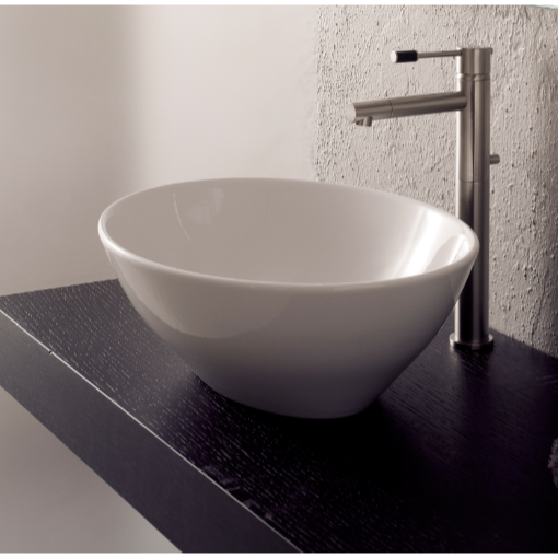 Bathroom Sink, Scarabeo 8011-No Hole, Oval-Shaped White Ceramic Vessel Sink
