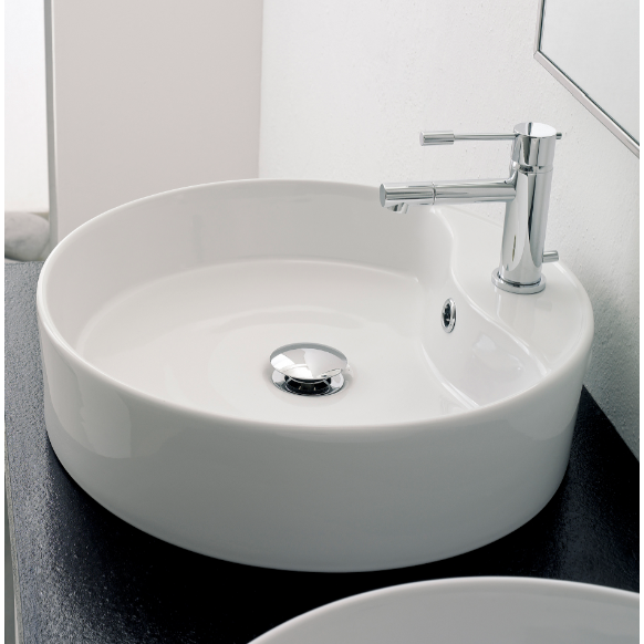 Bathroom Sink, Scarabeo 8029/R, Round White Ceramic Vessel Sink