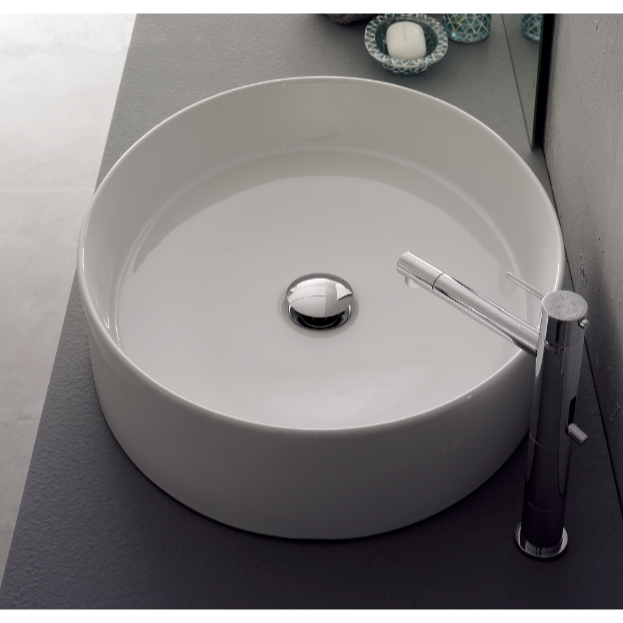 Bathroom Sink, Scarabeo 8030-No Hole, Oval-Shaped White Ceramic Vessel Sink