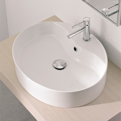 Bathroom Sink, Scarabeo 8030/R-One Hole, Oval-Shaped White Ceramic Vessel Sink