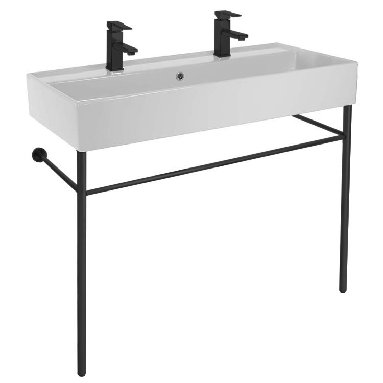 Bathroom Sink, Scarabeo 8031/R-100B-CON-BLK, Double Ceramic Console Sink and Matte Black Stand