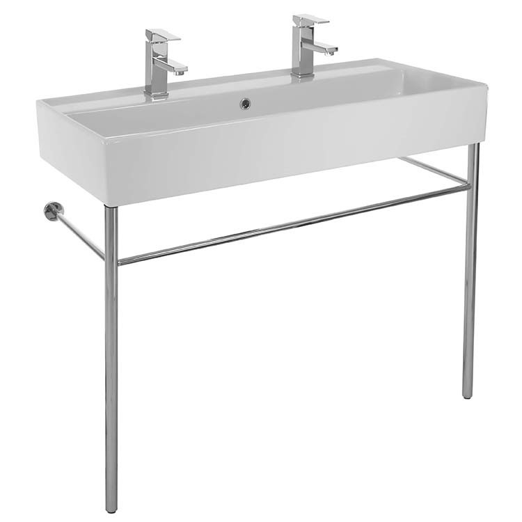 Bathroom Sink, Scarabeo 8031/R-100B-CON-Two Hole, Large Double Ceramic Console Sink and Polished Chrome Stand