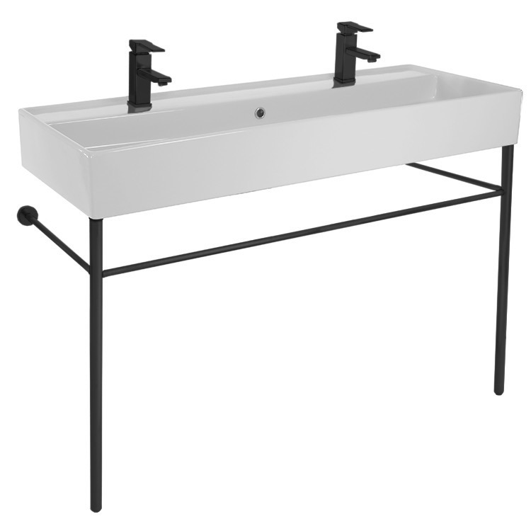 Bathroom Sink, Scarabeo 8031/R-120B-CON-BLK-Two Hole, Double Ceramic Console Sink and Matte Black Stand