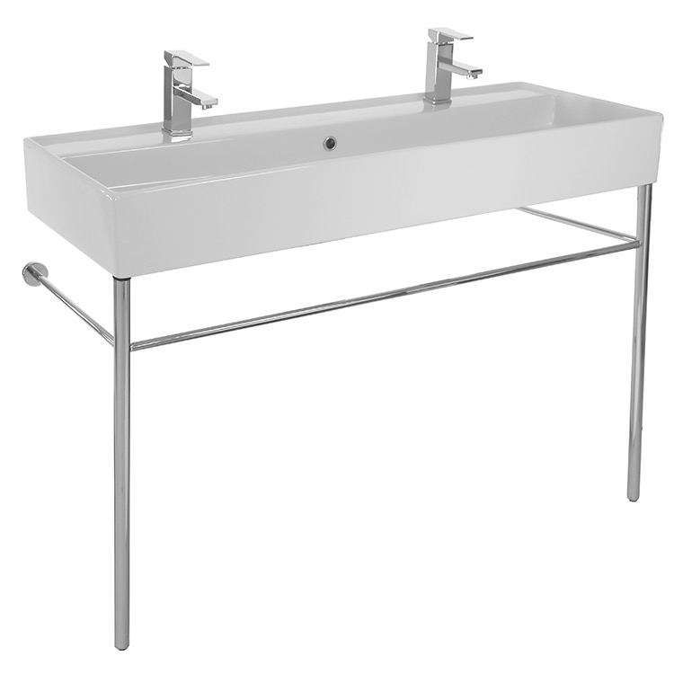 Bathroom Sink, Scarabeo 8031/R-120B-CON-Two Hole, Large Double Ceramic Console Sink and Polished Chrome Stand