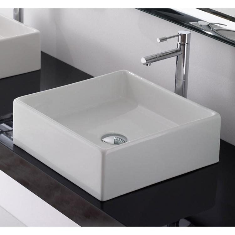 Bathroom Sink, Scarabeo 8031/40, Square White Ceramic Vessel Sink