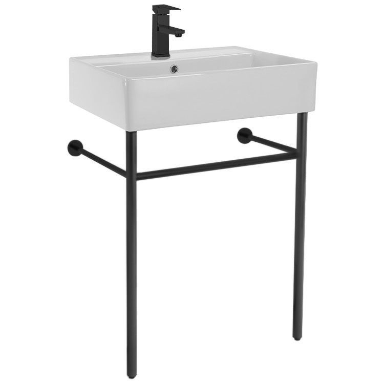 Bathroom Sink, Scarabeo 8031/R-60-CON-BLK, Ceramic Console Sink and Matte Black Stand