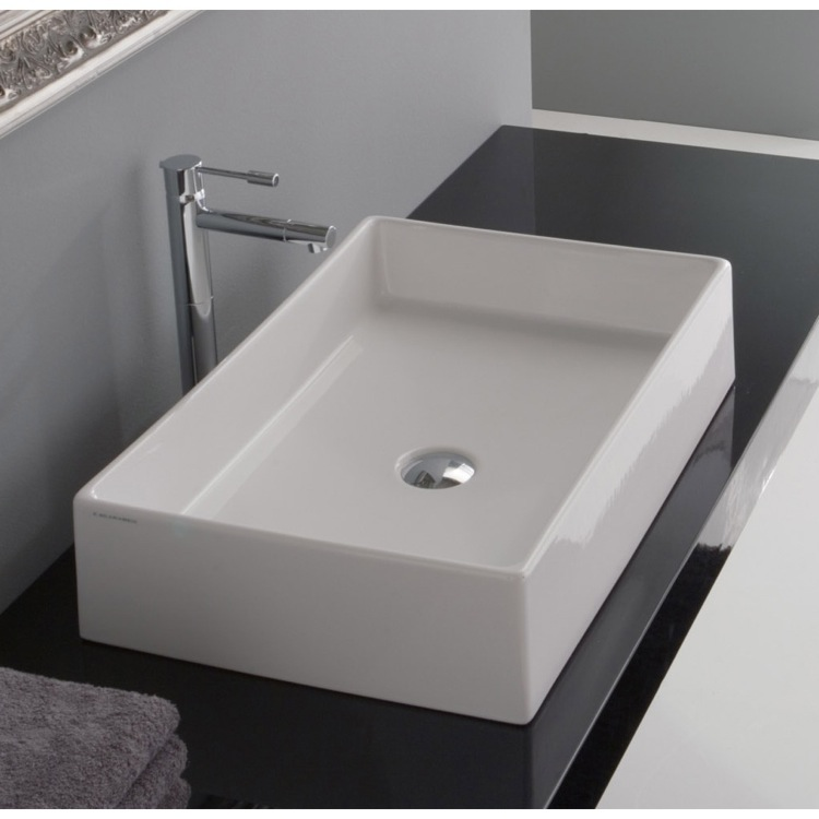 Great Rectangular White Ceramic Vessel Sink