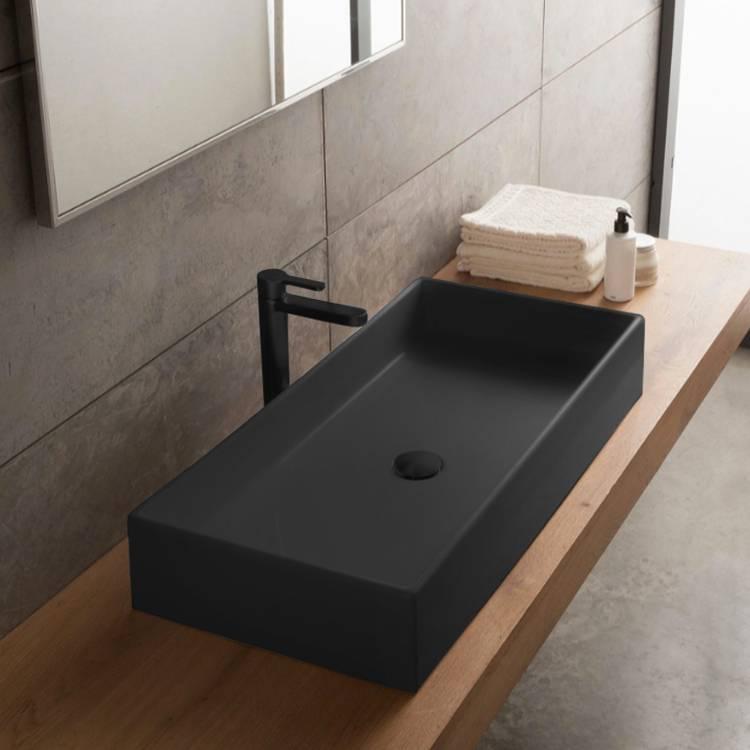 Scarabeo 8031 80 49 By Nameek S Teorema Rectangular Matte Black Vessel Sink In Ceramic Thebathoutlet