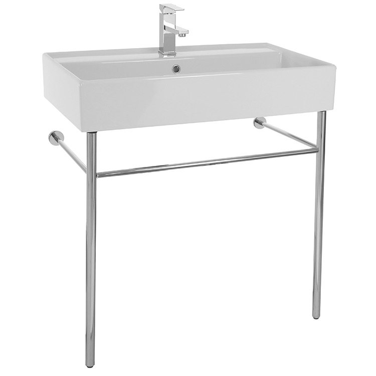 Bathroom Sink, Scarabeo 8031/R-80-CON-One Hole, Rectangular Ceramic Console Sink and Polished Chrome Stand
