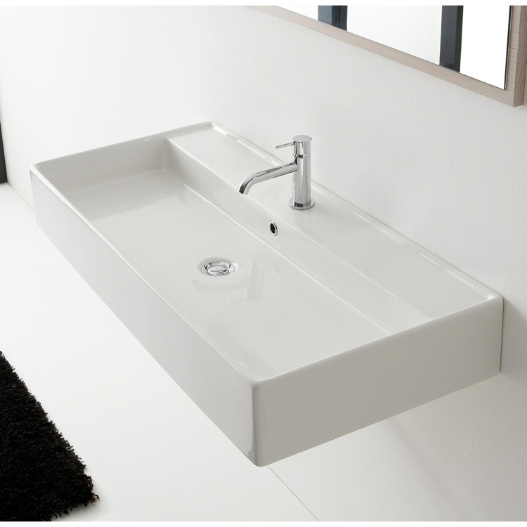 Bathroom Sink, Scarabeo 8031/R-120A-One Hole, Trough Ceramic Wall Mounted or Vessel Sink
